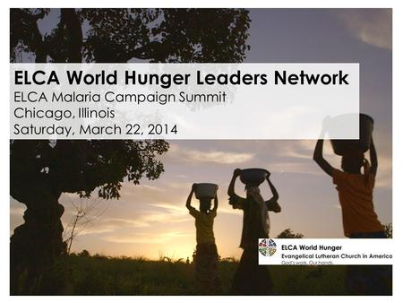 ELCA World Hunger Leaders Network ELCA Malaria Campaign Summit Chicago, Illinois Saturday, March 22, 2014.