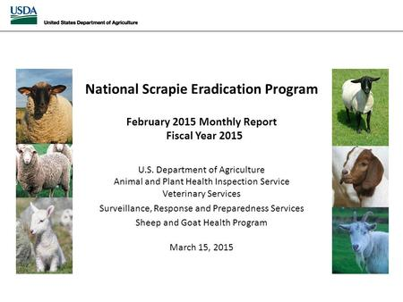 National Scrapie Eradication April 2014 Monthly Report National Scrapie Eradication Program February 2015 Monthly Report Fiscal Year 2015 U.S. Department.