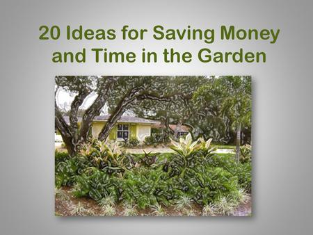 20 Ideas for Saving Money and Time in the Garden.