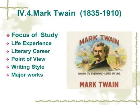 an introduction to the life and literature of mark twain Twain's own life inspired the adventures of mark twain, filmed by warner bros in 1944 my cousin mark twain, introduction by booth twain, mark, mark twain's.