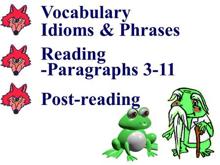 Vocabulary Idioms & Phrases Reading -Paragraphs 3-11 Post-reading.