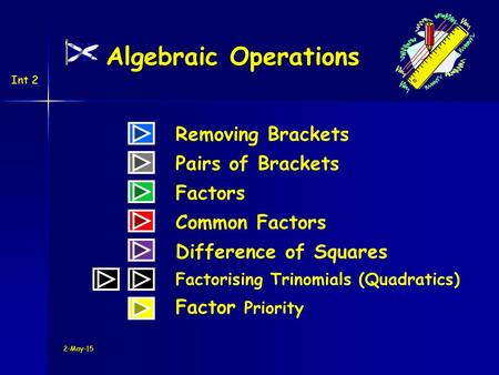 Int 2 Algebraic Operations Removing Brackets Difference of Squares Pairs of Brackets Factors Common Factors Factorising Trinomials (Quadratics) Factor.