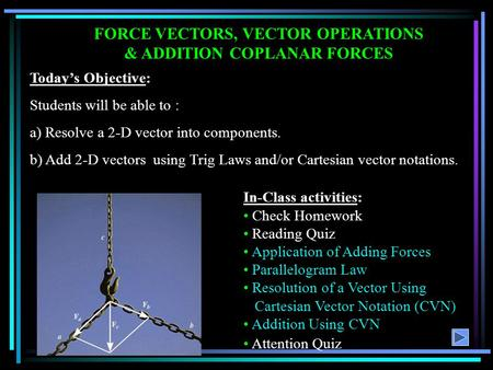 FORCE VECTORS, VECTOR OPERATIONS & ADDITION COPLANAR FORCES Today's Objective: Students will be able to : a) Resolve a 2-D vector into components. b) Add.