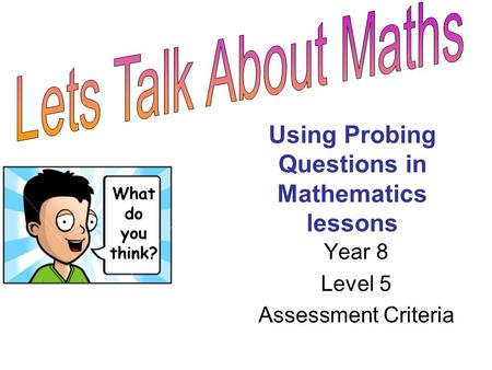 Using Probing Questions in Mathematics lessons Year 8 Level 5 Assessment Criteria What do you think?