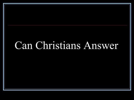 Can Christians Answer. Death on the Cross Was not under God's Curse.