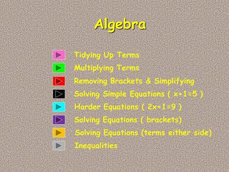 Tidying Up Terms Multiplying Terms Algebra Solving Simple Equations ( x+1=5 ) Removing Brackets & Simplifying Harder Equations ( 2x+1=9 ) Solving Equations.