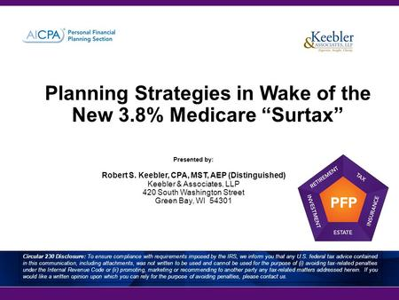 "Planning Strategies in Wake of the New 3.8% Medicare ""Surtax"" Presented by: Robert S. Keebler, CPA, MST, AEP (Distinguished) Keebler & Associates, LLP."