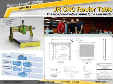 JR CNC Router Table JR CNC Router Table Senior Project Design MECH 4850 Senior Project Design MECH 4850 The most innovative router table ever made! Ronald.