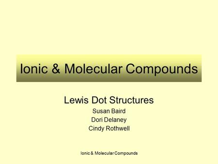 Ionic & Molecular Compounds