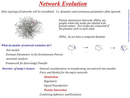 Network Evolution What do models of network evolution do?: 12 34 5 12 34 5 12 34 5 0 t1t1 t2t2 T Overview of today's lecture: General considerations in.