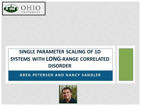 GREG PETERSEN AND NANCY SANDLER SINGLE PARAMETER SCALING OF 1D SYSTEMS WITH LONG -RANGE CORRELATED DISORDER.