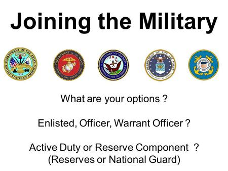 Joining the Military What are your options ?