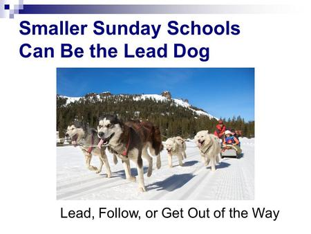 Smaller Sunday Schools Can Be the Lead Dog Lead, Follow, or Get Out of the Way.