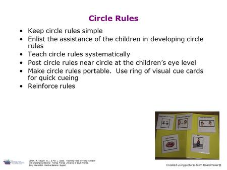 Circle Rules Keep circle rules simple Enlist the assistance of the children in developing circle rules Teach circle rules systematically Post circle rules.