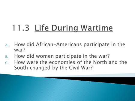 A. How did African-Americans participate in the war? B. How did women participate in the war? C. How were the economies of the North and the South changed.