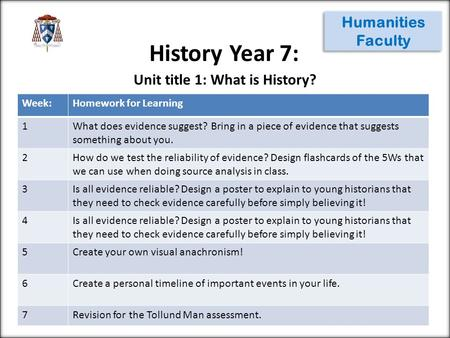 History Year 7: Humanities Faculty Week:Homework for Learning 1What does evidence suggest? Bring in a piece of evidence that suggests something about you.