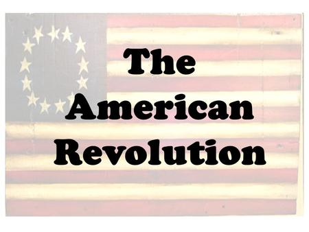 The American Revolution.  The American Revolution (1775-83) is also known as the American Revolutionary War.  The conflict arose from growing tensions.