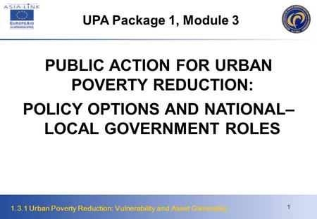 PUBLIC ACTION FOR URBAN POVERTY REDUCTION: