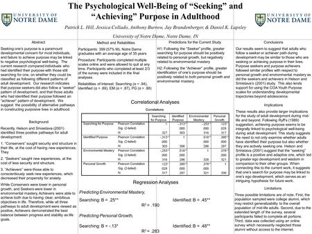 "The Psychological Well-Being of ""Seeking"" and ""Achieving"" Purpose in Adulthood Patrick L. Hill, Jessica Collado, Anthony Burrow, Jay Brandenberger, & Daniel."