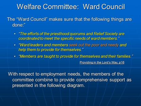 "Welfare Committee: Ward Council The ""Ward Council"" makes sure that the following things are done:"" ""The efforts of the priesthood quorums and Relief Society."