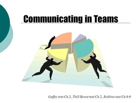 Guffey text Ch 2, Thill/Bovee text Ch 2, Robbins text Ch 8-9 Communicating in Teams.