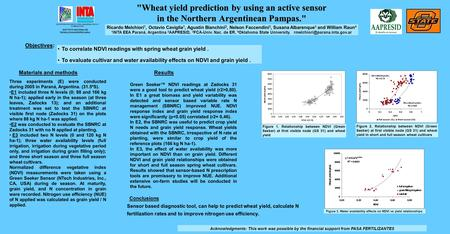 INSTITUTO NACIONAL DE TECNOLOGIA AGROPECUARIA SECRETARIA DE AGRICULTURA, GANADERIA, PESCA Y ALIMENTACION Wheat yield prediction by using an active sensor.
