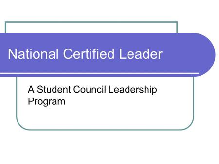 National Certified Leader