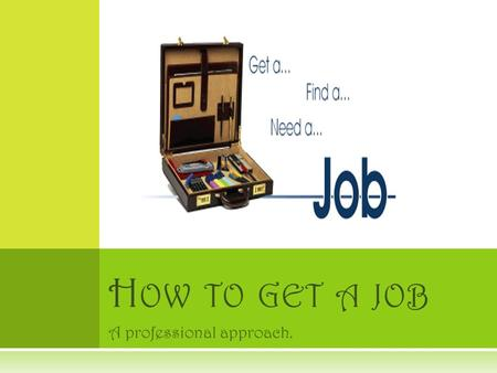 A professional approach. H OW TO GET A JOB. T HE PROCESS  Four simple steps to get a job. 1. Have a Resume 2. Interviewing skills and proper etiquette.