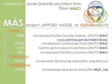 MÁS SUSTAINABILITY MÁS project (APPLIED MODEL of SUSTAINABILITY) MAIC spokesman: Javier Galante (architect from TEAM MAIC ) SPAIN SPAIN: UPM UPM Universidad.