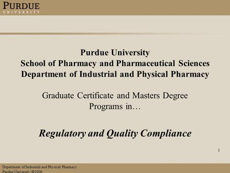 Purdue university school of pharmacy