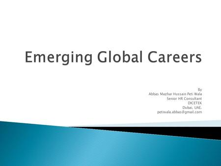 Emerging Global Careers