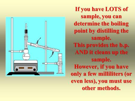 If you have LOTS of sample, you can determine the boiling point by distilling the sample. This provides the b.p. AND it cleans up the sample. However,
