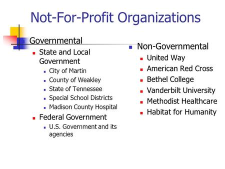Not-For-Profit Organizations Governmental State and Local Government City of Martin County of Weakley State of Tennessee Special School Districts Madison.