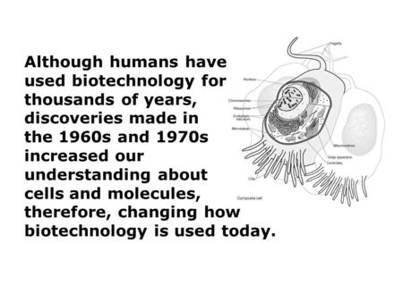 Although humans have used biotechnology for thousands of years, discoveries made in the 1960s and 1970s increased our understanding about cells and molecules,