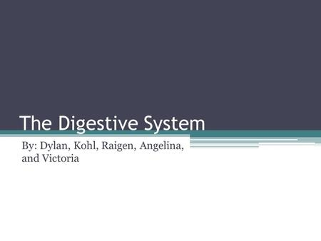 The Digestive System By: Dylan, Kohl, Raigen, Angelina, and Victoria.