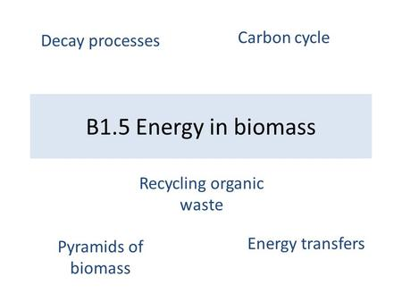 B1.5 Energy in biomass Pyramids of biomass Energy transfers Decay processes Carbon cycle Recycling organic waste.
