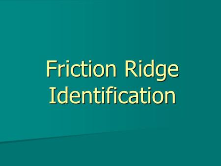 Friction Ridge Identification. Created as a supplement to Chapter 15 of Fingerprint Identification By William Leo Copyright © 2004 All Rights Reserved.