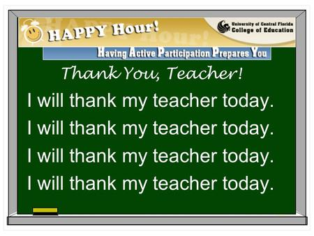Thank You, Teacher! I will thank my teacher today.