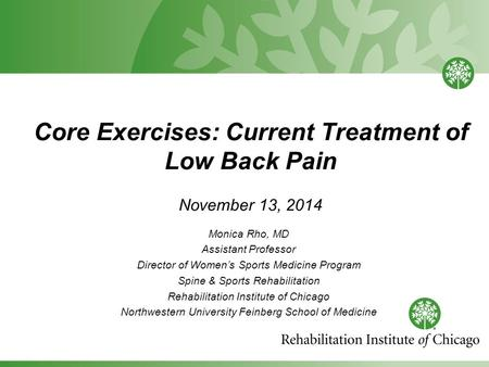 Core Exercises: Current Treatment of Low Back Pain November 13, 2014 Monica Rho, MD Assistant Professor Director of Women's Sports Medicine Program Spine.