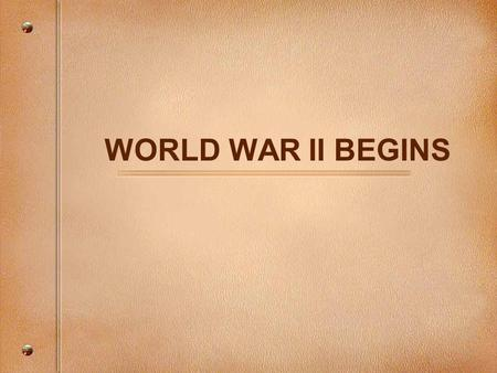 WORLD WAR II BEGINS. TERMS Blitzkrieg: Lightning warfare Luftwaffe: German air force Panzer: State of the art tanks.