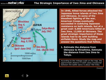 Discussion  Why do you think the United States didn't stage a direct assault on Japan, instead attacking various islands in the Pacific Ocean? Japan.