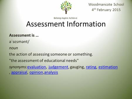Belong Aspire Achieve Assessment Information Woodmancote School 4 th February 2015 Assessment is … əˈsɛsmənt/ noun the action of assessing someone or something.