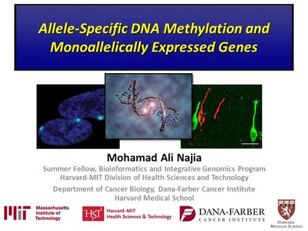 Mohamad Ali Najia Summer Fellow, Bioinformatics and Integrative Genomics Program Harvard-MIT Division of Health Sciences and Technology Department of Cancer.