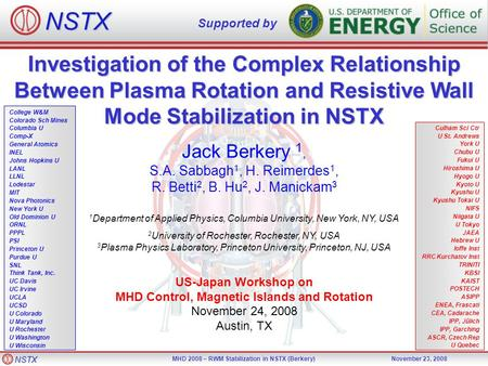 NSTX MHD 2008 – RWM Stabilization in NSTX (Berkery)November 23, 2008 Investigation of the Complex Relationship Between Plasma Rotation and Resistive Wall.