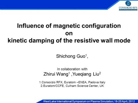 West Lake International Symposium on Plasma Simulation; 18-20 April, 2012 Influence of magnetic configuration on kinetic damping of the resistive wall.