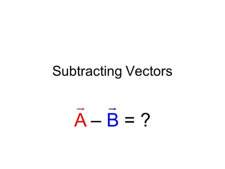 Subtracting Vectors A – B = ?. Example Problem What is 30 m/s north minus 15 m/s east?