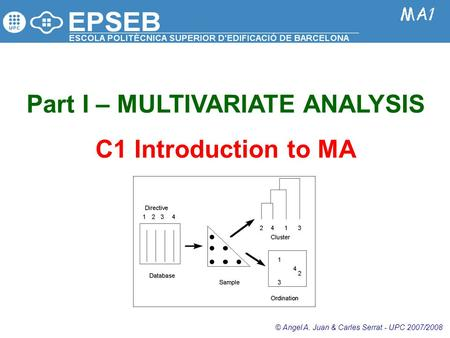 Part I – MULTIVARIATE ANALYSIS C1 Introduction to MA © Angel A. Juan & Carles Serrat - UPC 2007/2008.