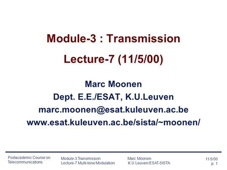 Module-3 : Transmission Lecture-7 (11/5/00)
