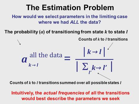 The Estimation Problem How would we select parameters in the limiting case where we had ALL the data? k → l  l' k→ l' Intuitively, the actual frequencies.