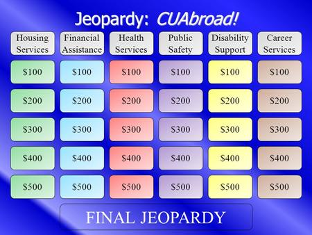 Jeopardy: CUAbroad! Housing Services Disability Support Career Services Public Safety Health Services Financial Assistance $100 $200 $500 $300 $400 $200.